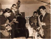 Early band photo, India at the Sun & Sand Bombay, 1965:  Left to Right: Amancio, Cyril Martins, Raymond Albuquerue, Gerry Ferro, and just out of the picture Anacleto Naronha on Piano