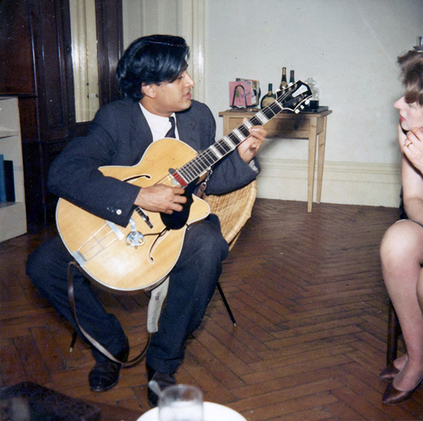 Amancio playing at a party in the flat of Joyce's sister, Claire,  where the D'Silva family lived for the first 3 months when they first came to England.